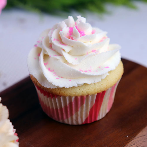 gluten free cupcake with pink sprinkles